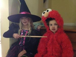 My witch and little Elmo at Halloween