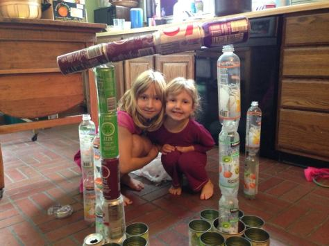 Lily and Neve, posing with one of their patented weekend projects.